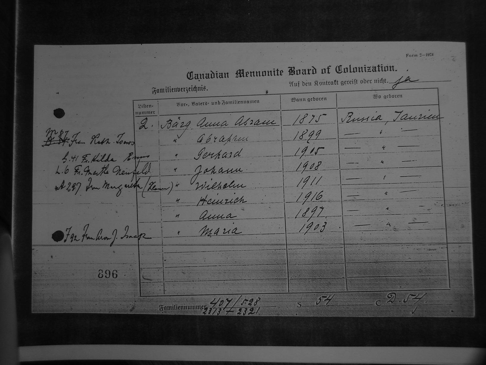 Canadian Mennonite Board Of Colonization Records Index Malibu 2002 Fuse Box 896 Front Back